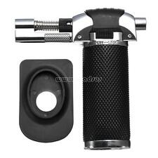 Butane Spray Gun 4 Flame Jet Refillable Windproof Cigar Lighter Torch Black