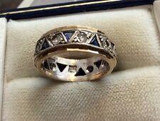 Ladies Vintage 1940's Heavy 9ct White & Blue Triangular Stone Eternity Ring - K