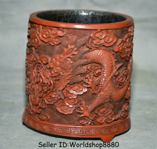 "5.4"" Qianlong Marked China Red Lacquerware Dynasty Dragon Brush Pot Pencil Vase"