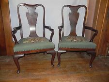 Antique Queen Ann arm chairs-embroidered, needlepoint seats