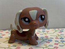 Littlest Pet Shop LPS Authentic 1631 Mauve Brown White Dachshund Blemished