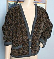 Vtg 80's Sonia Rykiel Paris France Quilted Floral Velvet Sweater Jacket XL