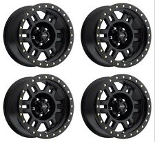 "Set 4 15"" Vision 398 Manx Matte Black Wheels 15x8 5x5 -19mm Jeep Wrangler 5 Lug"