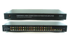 1x8 (1:8) Component 5-RCA Video + Stereo Analog Audio Splitter Amplifier SB-3737