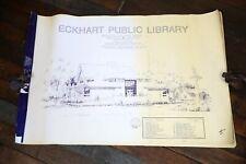 Vintage Public Library Blueprints, Building blueprint, structural engineering