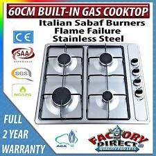 Adelchi 60cm 600mm 4 Burner Built-in S/S Gas Hob Cooktop Stove Stainless Steel