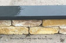 Black slate wall coping stones 900 x 145 x 20mm - slate wall topping