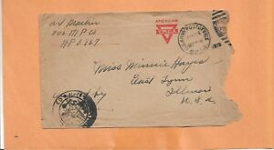 WW I U.S MILITARY COVER APO 767 1919 CENSORED YMCA