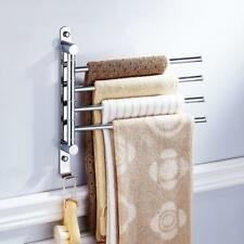 Bathroom Towel Shelf 4-arms Bar Rotating Hanger Chrome Rack Toilet - Silver