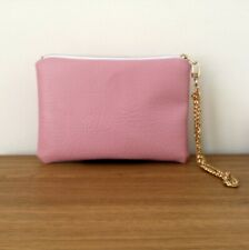 Clutch Bag Pink Hand Evening Strap Faux Leather Purse Handmade Travel Wedding