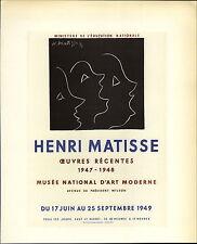 1959 Mini Poster Lithograph ORIGINAL Print Matisse Recent Woks Ceuvres Recentes