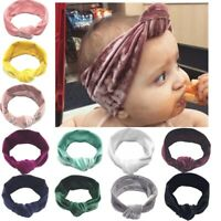 Newborn Headband Velvet Elastic Baby Turban Knot Hair Band Girls Head Wrap d
