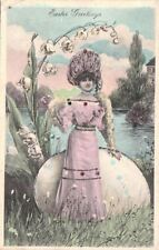 Postcard Easter Greeting Woman Life Size Egg 1908