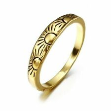 New Women Fashion Jewelry 18K Gold Plated Size 8 Dainty Sun Ring Finger