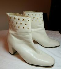 1960s Vintage Off White Leather Ankle GoGo Boots 60s Gold Studs Stefani 6.5 M