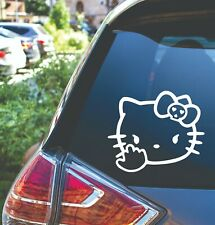 Hello Kitty Middle Finger Skull Bow Car Laptop Cup Decal Sticker