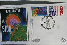 ENVELOPPE PREMIER JOUR SOIE - 1994 CONTRE LE SIDA