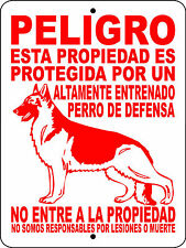 GERMAN SHEPHERD GUARD DOG ALUMINUM SIGN WARNING SPANISH VINYL DECAL 2276SP1