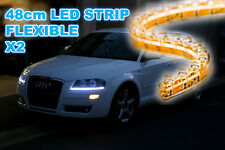 2pcs 48cm LED SMD STRIP FLEXIBLE WHITE LIGHT INTERIOR BOOT UNDER CAR ROOF DRL 50