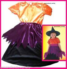 WITCH Girl DRESS & HAT Halloween Horror Spooky Fancy Dress Costume Party sz 4-6