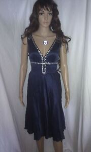 WAREHOUSE Silk Evening Dress. Cocktail Party or Wedding  Lined. SIZE 6 - 8