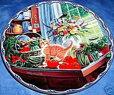 Warm Country Moments, Charlotte's Summer Harvest, Mary Ann Lasher, Cat Plate