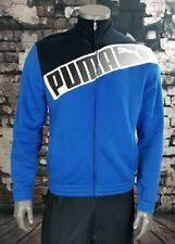 PUMA Men's Medium Blue Jacket Zip Up Polyester Cotton Sport Lifestyle Soccer