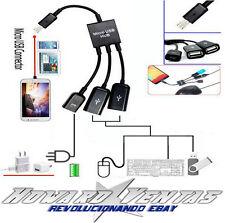 Cable Micro USB 2 Puertos USB Hub OTG Adaptador Para Android Ordenador Tablet Pc