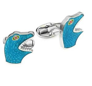 $150 New Mens Paul Smith  Blue Dinosaur Enamel Cufflinks