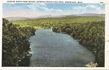 Postcard MA Greenfield Looking North frm Bridge Franklin Cnty CT River 40s
