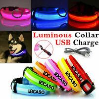 USB Rechargeable LED Pet Dog Collar Lead Flashing Luminous Safety Night Light Up