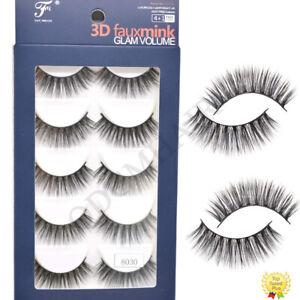 5 Pairs 3D Mink Eyelashes Thick Natural Look Full Volume Cross False Eye Lashes