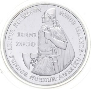 2000 Iceland 1000 Kronur - Leif Ericsson Millennium Charles Coin Collection *331