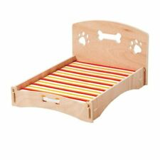 """Cat or Small Dog Bed Couch Wooden Frame Striped Pad Removable Cover 20"""" X 15"""""""