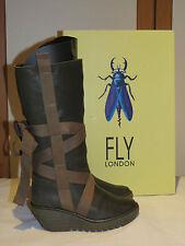 FLY LONDON YASU GREEN LEATHER PLATFORM WEDGE KNEE HIGH BOOTS UK 4 EU 37 RRP £145