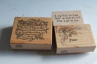 3 pcs PSX G-1952 THE HOLLY Christmas Saying Poem Rubber Stamp + To From