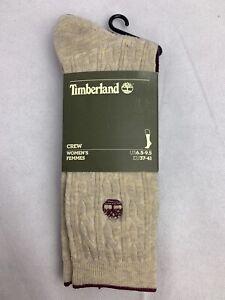 Timberland 2 Pair Beige/Purple Crew Women's Sock A1GHK-G69