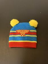 DC Comics Wonder Women Infant Baby Beanie Hat Pom Poms Blue Red Yellow Gold New