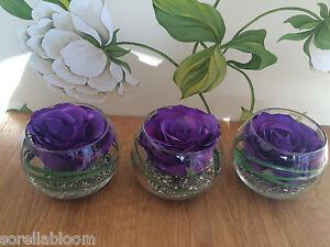 MODERN SET OF 3 PURPLE ROSE ARTIFICIAL FLOWER ARRANGEMENTS IN GLASS BOWLS& WATER