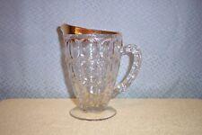JEANNETTE GLASS 20 oz GOLD TRIM THUMB PRINT PATTERN PITCHER