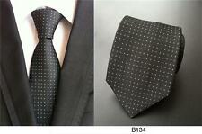 Black and White Patterned Handmade 100% Silk Tie