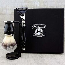 Mens Wet Shaving Kit Black Synthetic Hair Brush & Triple Edge Razor Home Salon