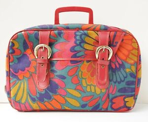 Vintage 60's hippie floral print luggage suitcase Made in Japan