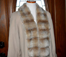 Vintage Putty 100% Wool Full Length Dress Coat With Faux Fur Lapels Size M