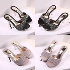 Ladies Peep Toe Mules Rhinestone Sandal High Heel Slipper Party Slides COP