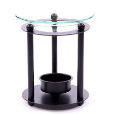 NEW BLACK METAL WITH GLASS DISH OIL BURNER 11cm OB125