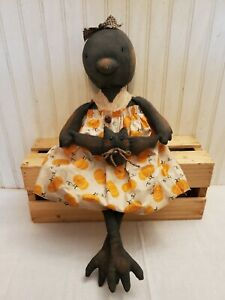 Primitive Grungy Sweet Crow Girl Halloween Doll & Her Little Bat