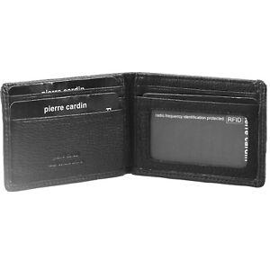 Pierre Cardin Mens RFID Slim Wallet Genuine Italian Leather w Gift Box - Black
