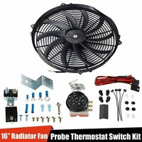 """Radiator 12V Fan Thermostat Control Relay Wire+16""""Slim Push Pull Cooling Fan Kit"""