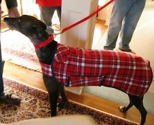 Red/White Plaid Greyhound Dog Coat & Snood *100% Donation 2 Cure Canine Cancer